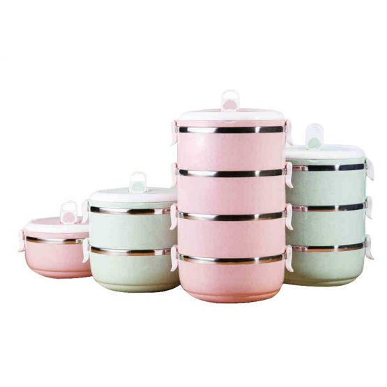 Tiffin Meal Container Pink and Green