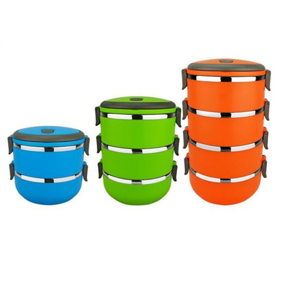 Resistant Orange Blue Green Tiffin Box