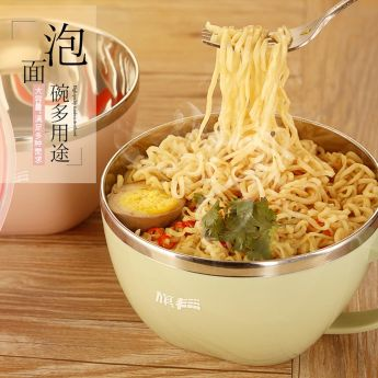 Noodles in green lunch cup with handle