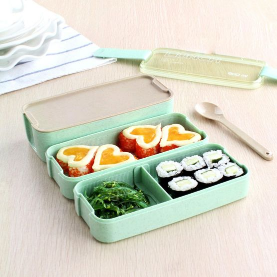 Opened Lunch Box With Food Sushi