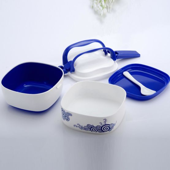 Opened With Handle and Spoon Lunch Box
