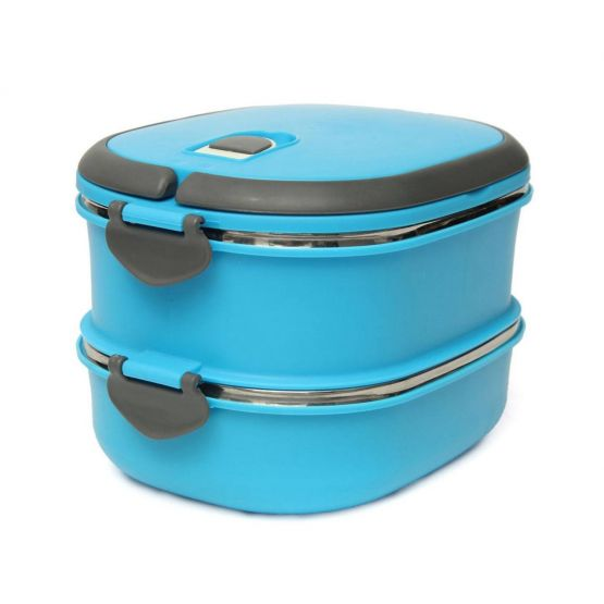 Blue Two Layer Plastic and Metal Lunch Box