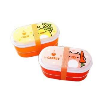 Lunch Box with Pig and Bento Cartoon
